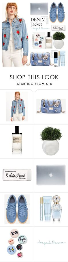 """""""Floral Denim Jacket"""" by mycherryblossom ❤ liked on Polyvore featuring Muji, D.S. & DURGA, Paper Mate, Incase, Behance, Marc Jacobs, Bing Bang, Natural Life and JINsoon"""