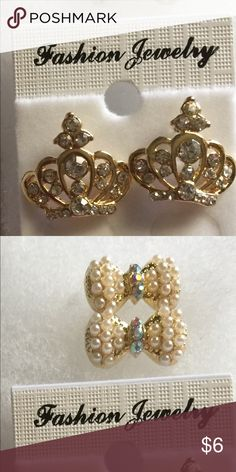 2 pairs of gold tone earrings, Pearl bows & crown 2 pairs of gold tone earrings 1 Pearl bow and crown set! Jewelry Earrings