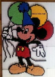 Mickey Mouse hama perler beads by Deco. Cute Cross Stitch, Beaded Cross Stitch, Cross Stitch Charts, Hama Beads Design, Hama Beads Patterns, Beading Patterns, Mickey Mouse Crafts, Mickey Mouse And Friends, Minnie Mouse