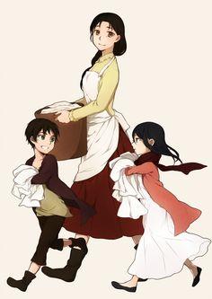 Eren Jaeger, Carla Jaeger & Mikasa Ackerman | Shingeki no Kyojin / Attack on Titan