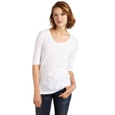 AG Adriano Goldschmied Women's Angled Yoke Tee, White, Large (Apparel)