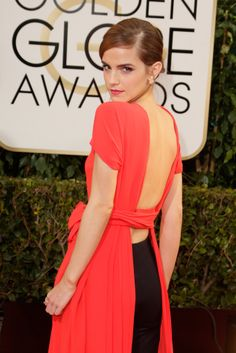 """Emma Watson did her best """"blue steel"""" at the Golden Globes."""
