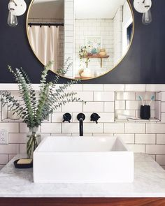 modern industrial bathroom // gray and white bathroom // subway tile - Salle de Bains 02 Gray And White Bathroom, Grey Bathrooms, Beautiful Bathrooms, Bathroom Gray, Downstairs Bathroom, Bathroom Accents, White Sink, Luxury Bathrooms, Bathroom Hardware