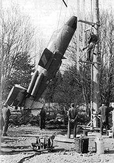 """German - Bachem """"Ba349"""" Natter – a Point Defense Rocket Powered Interceptor - After a Vertical Take-Off, most of the Flight was Controlled by an Autopilot. The Relatively Untrained Pilot Would then Aim the Aircraft at its Target Bomber, Firing the Armament of Rockets. The Fuselage Containing the Pilot and Rocket Motor would Separate from the Nose Section and Land using Separate Parachutes. The only Manned Vertical Take-Off on 1 March 1945 Ended in the Death of Test Pilot, Lothar Sieber (1)"""
