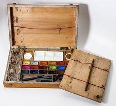 French Watercolor paint box, my favorite medium Watercolor Kit, Watercolor Paintings, Watercolors, Pochade Box, Artist Supplies, Painted Boxes, Watercolor Techniques, Art Plastique, Box Art