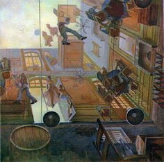 An apartment building with no floors by Francois Schuiten, a Belgian comics artist born in 1956 to two architects.