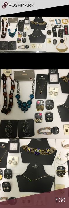 30 pieces jewelry lot from Nordstrom Topshop 30 pieces of Jewelry from Nordstrom, no defects , includes brands like Topshop, Anne Klein, Natasha, Ariella, 14th & union, Rachel and more, look at the pictures, NO offers please, the price is already awesome. Let me know if you have any questions THANK YOU Topshop Jewelry