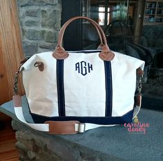 Say hello, to the beautiful, classic, Monogrammed Canvas Duffle Bag!  Pack the car to the brim, settle in the passenger seat with your favorite