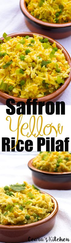 This Indian Saffron Yellow Rice Pilaf is super buttery, slightly creamy + makes the perfect side.  Serve this for dinner with fresh vegetables or homemade curry.