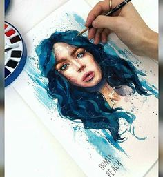 Watercolor painting by Humid Peach. Humid Peach is the name of the artist whose real name is Ksenia Kondyleva. Continue Reading and for more watercolor art → View Website Watercolor Illustration, Watercolor Paintings, Watercolour, Desenhos Halloween, Art Et Design, Arte Sketchbook, Watercolor Portraits, Portrait Art, Traditional Art