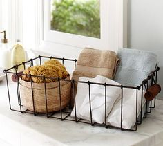 Mud, laundry, and office #organization option. Taylor Wire Coffee Table Basket #potterybarn #homedecor