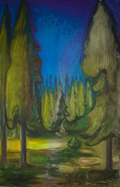 Edvard Munch - Dark Spruce Forest, 1899 at Munch Museum Oslo Norway : Edvard Munch - Dark Spruce Forest, 1899 (Munch Museum Oslo Norway) at Munch: Van Gogh Exhibit - Van Gogh Museum Amsterdam Netherlands (Munch: Van Gogh Exhibit Catalog) Edvard Munch, Art Grants, Van Gogh Museum, Post Impressionism, Wow Art, Albrecht Durer, Pictures To Paint, Vincent Van Gogh, Painting Inspiration