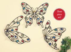 Glass Beaded Butterfly Wall Art - Set of 3, Home Decor, Wall Sculptures