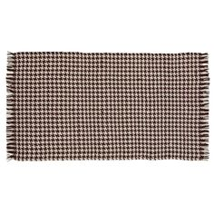 Brown Rustic Flooring VHC Carrington Rug Wool Houndstooth Knotted Tassels Rectangle - x x - Dark Brown), VHC Brands