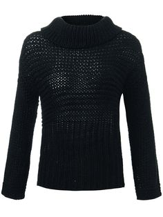Sale 21% (16.64$) - Casual Loose Knit Pink/Gray/Black Turtleneck Pullover Women Sweater