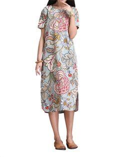 Vintage Women Flower Printing Side Split Straight Dress - Gchoic.com