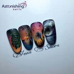 Nail art landscapes sea design sunset sun summer