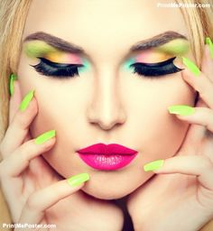 Poster Of Beauty Woman Face Portrait With Makeup And Colorful Nail Polish Colourful Nails