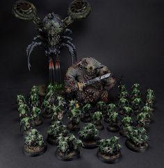 Nurge Daemons Army #nurgle #warhammer40k #warhammer #40k #chaos #daemons #nurglings #plaguebearers #greatuncleanone