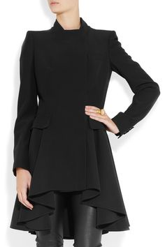 Gorgeous contrast between the tailoring and draping on this coat. Alexander McQueen Crepe frock coat NET-A-PORTER.COM