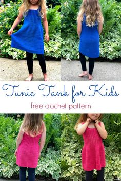 Tunic Tank Top For Kids Free Crochet Pattern This tunic tank top crochet pattern is perfect for little ones to wear out and about this summer. With a customizable length, this can be a tank OR a dress! Mode Crochet, Bag Crochet, Crochet Tunic, Crochet Clothes, Crochet Vests, Crochet Edgings, Crochet Motif, Crochet Patterns, Freeform Crochet
