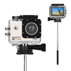 Sub | Câmera Navcity NG-100 Plus 4KCase à Prova d'água 30mbastão selfie | R$ 8999 | 8x 4k, Selfie, Couple, Selfies