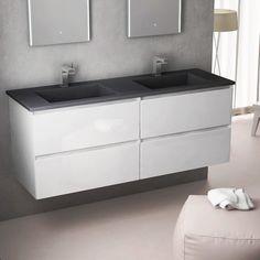 Cordoue, Meuble salle de bain 141 cm, blanc brillant, double vasque pierre    #salledebain #meuble  #design #style #deco #bathroom #bath #bathroomdesign #bathroomideas #blanc