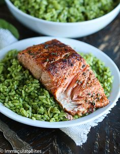 Spicy Pan Seared Salmon with Spinach Brown Rice by iimmaculatebites #Salmon #Spinach #Rice #Healthy
