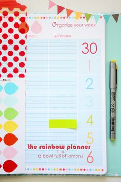 Add some serious organization (and color!) to your life with this Rainbow Planner from A Bowl Full of Lemons. Formatted to fit different planner sizes and it's in PDF form. Get organized starting now!