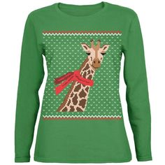 Big Giraffe Scarf Ugly Christmas Sweater Womens Long Sleeve T Shirt