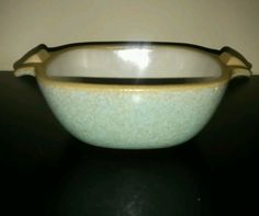 Signed Glidden Pottery Bowl Casserole Dish in Speckled Turquoise | eBay
