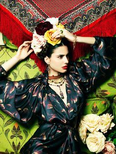 "Iliana Papageorgiou @ Life Style, May ""The Jewelries of Frida Kahlo"" concept Greek Fashion, Mexican Fashion, Mexican Style, High Fashion, Pose, Fashion Images, Fashion Art, Photography Women, Fashion Photography"