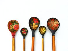 Vintage set wooden spoons and bowl Russian Folk Art 70s