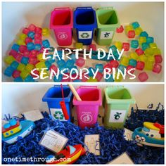Earth Day Sensory Bins - hands-on learning opportunity for #toddlers and #preschoolers with FREE #garbage sorting printable at www.onetimethrough.com
