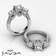 Three 3 Stone Asscher Diamond Gorgeous Engagement Ring GIA I VS2 Platinum 2.2 ct #Javda #ThreeStone