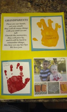"Grandparent gift idea... poem, hand prints of kids with name and age and a picture with ""We love you"""