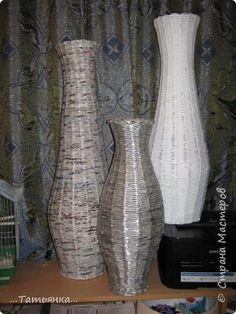 Поделка изделие Плетение Вазы Бумага газетная фото 13