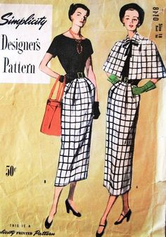Late STYLISH Dress and Cape Pattern SIMPLICITY DESIGNERS 8110 Daytime or Dinner Cocktail Evening Bust 36 Vintage Sewing Pattern-Authentic vintage sewing patterns: This is a fabulous original dress making pattern, not a copy. Because the sewing pa 40s Fashion, Vintage Fashion, Vintage Style, Vintage Sewing Patterns, Clothing Patterns, Cape Pattern, Dress Making Patterns, Fashion Project, Simplicity Patterns