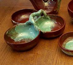 3-Bowl Dish Punch Bowls, Serving Bowls, Stoneware, Dish, Pottery, Tableware, Red, Gifts, Handmade