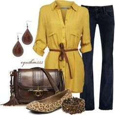Fall outfit.  Leopard print flats & mustard yellow blouse.