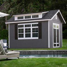 Wood Storage Sheds, Outdoor Storage Sheds, Storage Shed Plans, Outdoor Sheds, Shed Office, Shed Home Office Ideas, Patio Gym Ideas, Gym Shed, House Ideas