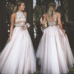 Gorgeous Two Piece High Neck Long White Tulle Prom Dress with Open Back