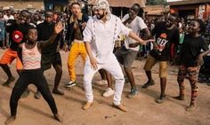 French Montana and Swae Lee dancing with the Triplets Ghetto Kids in Kampala.  Photo: Kiss 100