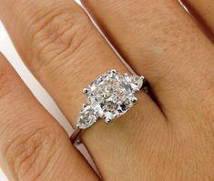 Colorless 3.03ct Vintage CUSHION Cut Diamond 3 Stone ENGAGEMENT Wedding Platinum RING by Birks #CushionCutDiamonds