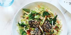 Ingredients Salmon 220 g salmon fillet, cut into chunks about 4cm (2 inch) square. 2 tablespoons white and black sesame seeds. 1 tablespoon coconut oil. Slaw 200 g (7 oz) broccoli, cut into very small…
