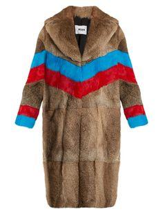 MSGM Striped rabbit-fur coat