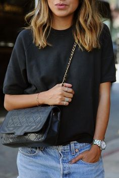 Casual Black Loose Tee