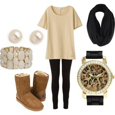 """Beige Winter"" by winter-days on Polyvore but I'd rather leather boots rather than uggs"
