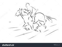 Vector Illustration Of Sketch Horseman Galloping On Horse - 455911378…
