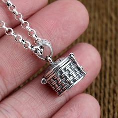 """Men's Sterling Silver Treasure Box Necklace with Sterling Silver Rolo Chain 18""""-30"""""""